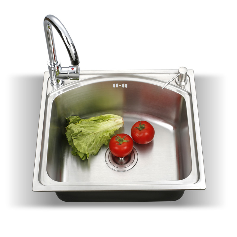 Kitchen single sink 304 stainless steel large capacity brushed surface scratch resistant washing vegetable basin wx4181046