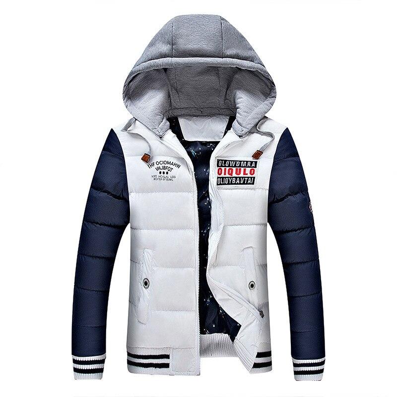 Winter Warm Cotton Jacket Men College Parka Sweat Overcoat Outerwear Male Teen 2019 Windbreaker Zipper Hooded Thick Baggy Coat