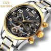 Kinyued Tourbillon Mechanical Watch Mens Skeleton Gold Calendar Automatic Watch Men Stainless Steel Waterproof Mecanique Relogio