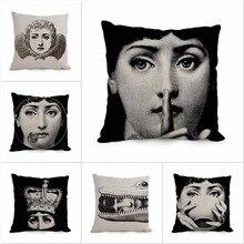 2016 Fornasetti Italian Art Vintage Belleza Cara Cráneo Decorativo Almohada cojín blanco y Negro Cojines Decorativos