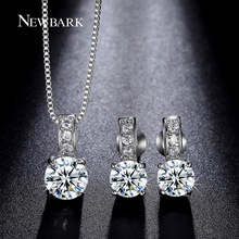 NEWBARK Round Bridal Jewelry Sets 4 Prongs Cubic Zirconia Earring And Necklace White Gold Plated Engagement For Women
