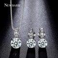 Newbark rodada conjuntos de jóias de noiva 4 pontas cubic zirconia brinco e colar branco banhado a ouro de noivado para as mulheres