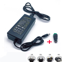 Adaptador de fuente de alimentación de 12V, 5A, 5 amp, 60W, DC, EU/US, UK, AU, tira de luz LED
