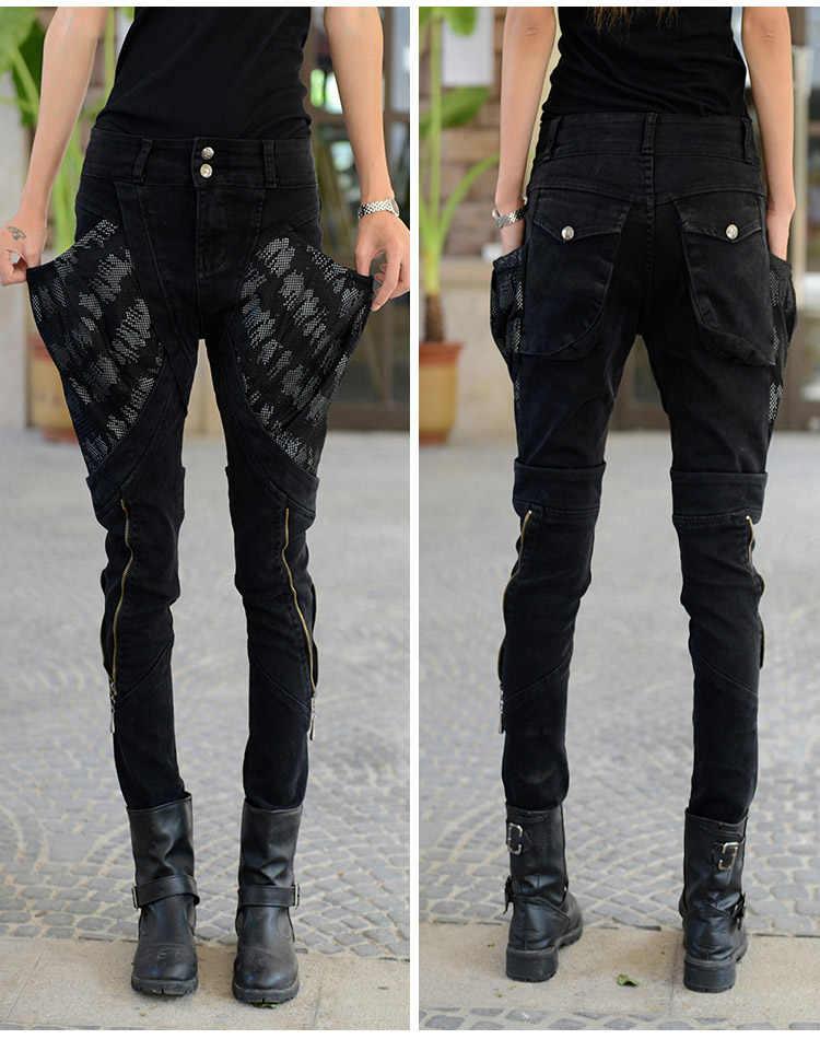 Casual Multi Pockets Jeans Woman Baggy Denim Biker Jeans Long Pencil Pants Women Black Jeans Trousers With Zipper Big Pockets