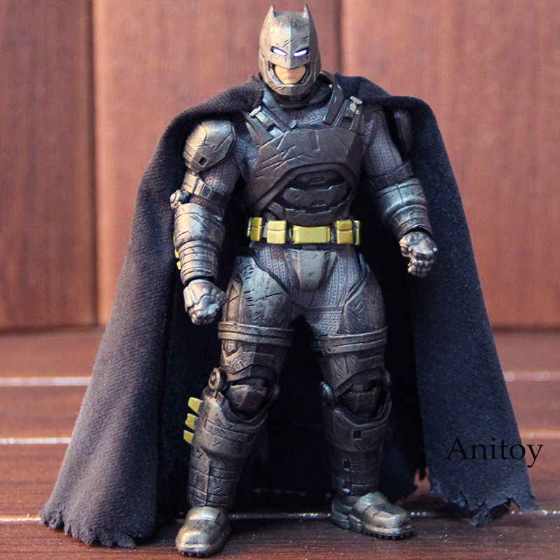 DC Comics Batman V Superman: Dawn of Justice MEZCO One 12 Batman Armored Figure Action PVC Collectible Model Toy with LED Light saintgi batman v superman dawn of justice man of steel dc superman doll super heroes pvc 23cm action figure collection model kid