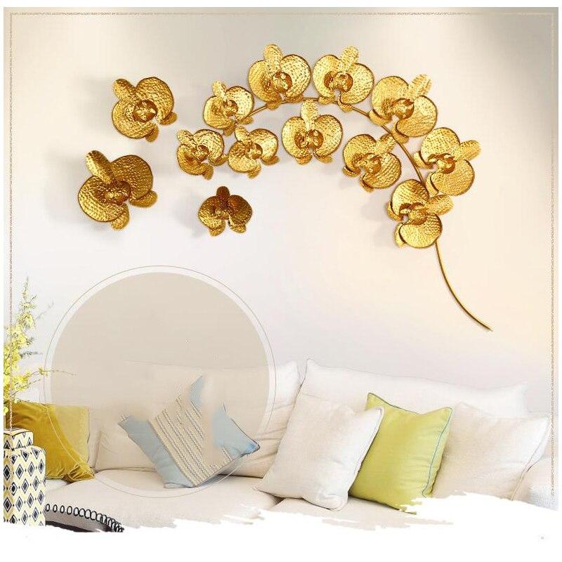 Современный Креативный 3D кованого железа золото Магнолия Ремесла Ресторан гостиная украшение стены домашний диван задний план настенные н...