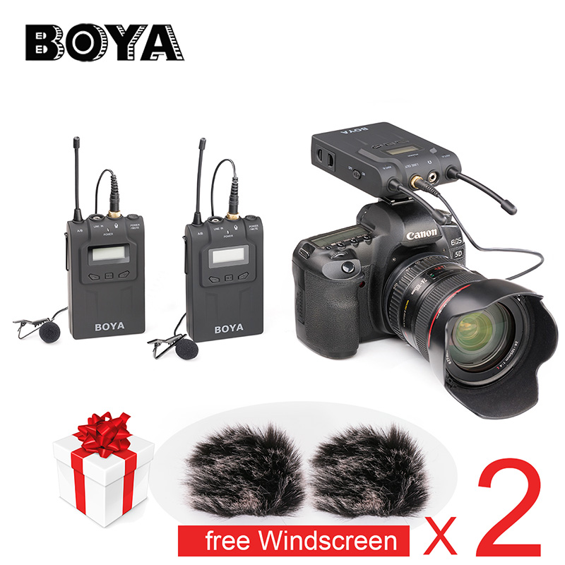 BOYA BY-WM8 UHF Dual Wireless Lavalier Microphone Systerm Lav Interview Mic 2 Transmitters & 1 Receiver for DSLR Video Camera ледянка сима ленд зайка микс 788982