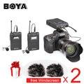 Boya by-wm8 uhf dupla transmissores de microfone de lapela sem fio systerm lav entrevista mic 2 & 1 receptor para câmera de vídeo dslr