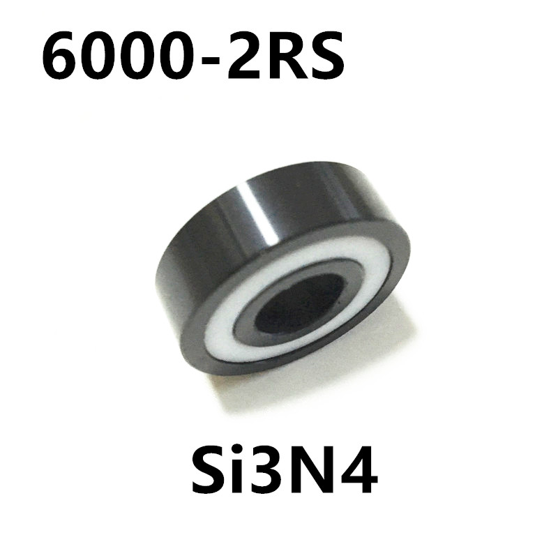 Free shipping 6000-2RS full SI3N4 ceramic deep groove ball bearing 10x26x8mm 6000 2RS 6000 2rs sealed deep groove ball bearing 10mm inner dia black silver tone