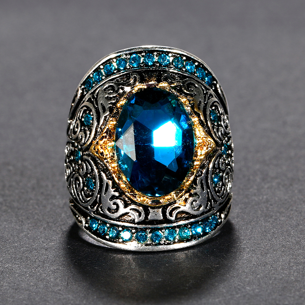 HTB1B9UuacfrK1Rjy1Xdq6yemFXaD Nasiya Peacock Blue Gemstone Rings For Women Men's Aquamatine 925 Silver Jewelry Ring Vintage Gift for Mother Grandmother