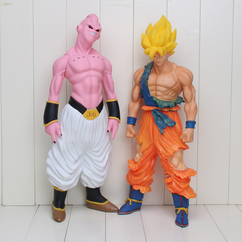 2 pcs/lot 44 cm Super grande taille Dragon Ball Z Son Goku Super Saiyan Buu PVC figurine modèle jouets