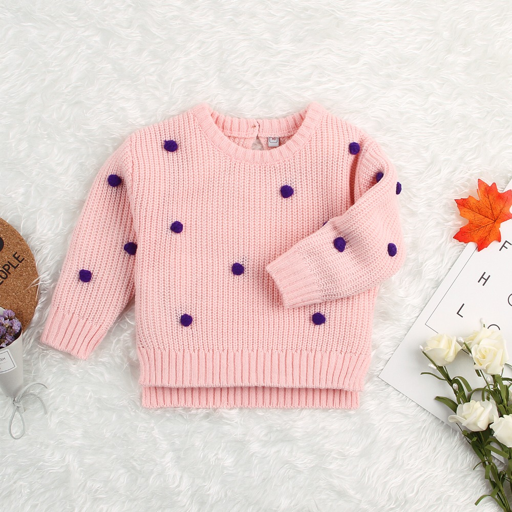 Fashion Dots Crochet Baby Sweaters For Girls Autumn Long Sleeve