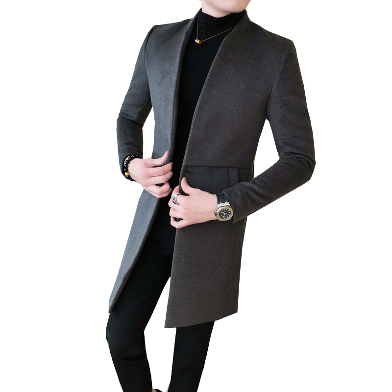 New Fashion Men Long-sleeved Collar Woolen Coat Black Dark Gray Slim Elegant Mens Business Banquet Casual Dress Jackets