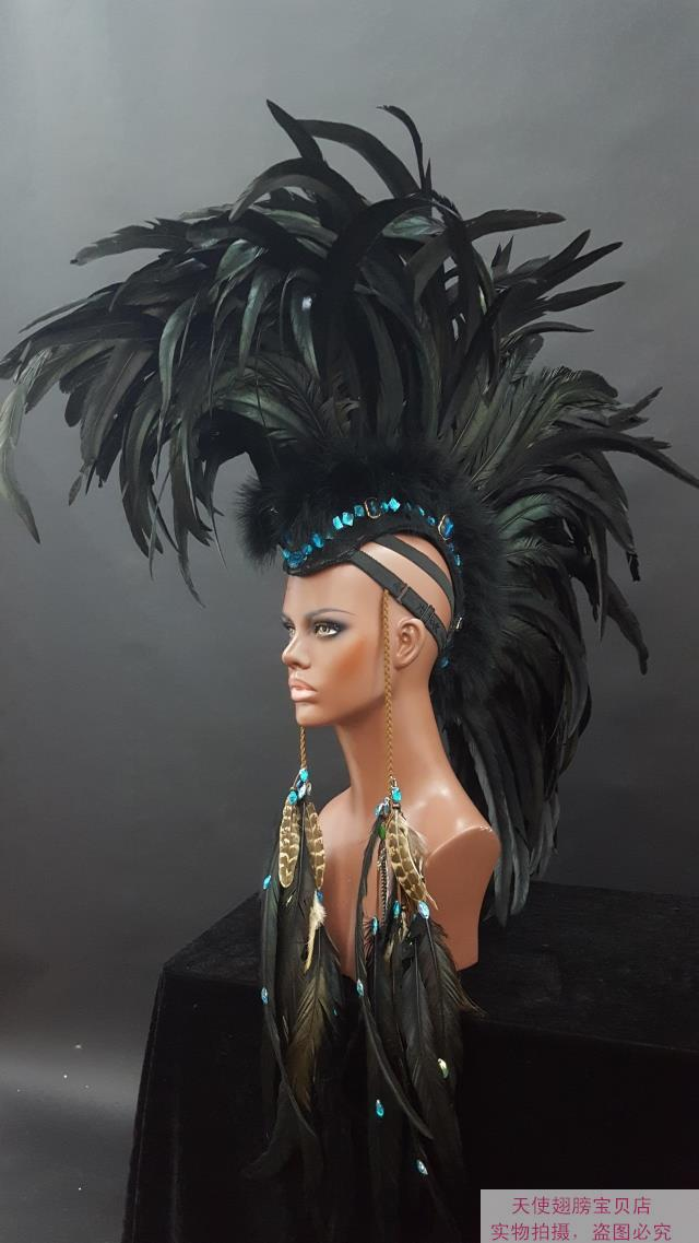 Fashion black show angel wings catwalk underwear show props festival Angel Feather heads decor cosplay costume party supply