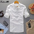 New  Summer Linen Shirt Men High Quality Casual Pullover Three Quarter Sleeve Tops Thin Slim Fit Popover Linen Shirts Male