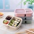 Lonchera de paja de trigo Bento Box 3 rejilla con tapa microondas caja de comida contenedor de almacenamiento Biodegradable almuerzo Bento cajas juego de vajilla