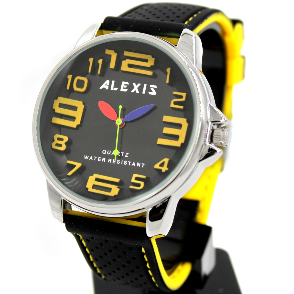 Gifts Box Easy to See FW939D Black + Yellow Arabic Number Big Dial Water Resist Silicone Black Band ALEXIS Fashion Sport Watch friendship gifts birthday gifts fw819e rose gold band white dial ladies elegant alexis brand crystal bracelet watch gifts box