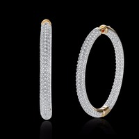 Damska Biżuteria Moda urok Champagne Złoty Okrągły Hoop kolczyki Kolczyki cyrkon wkładka opakowania pudełko E126