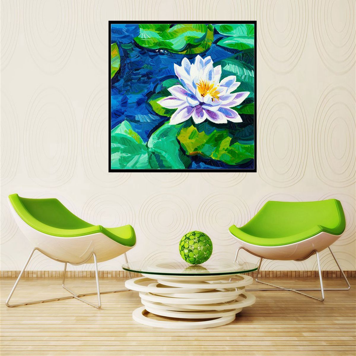 Square Oil Flower Painting Hd Print Lotus And Lotus Leaves Wall