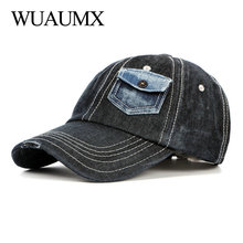 цены Wuaumx Leisure Travel Baseball Cap Men Women Spring Denim Hats And Caps Summer Hip Hop Snapback Cap Wash Trucker Hats casquette