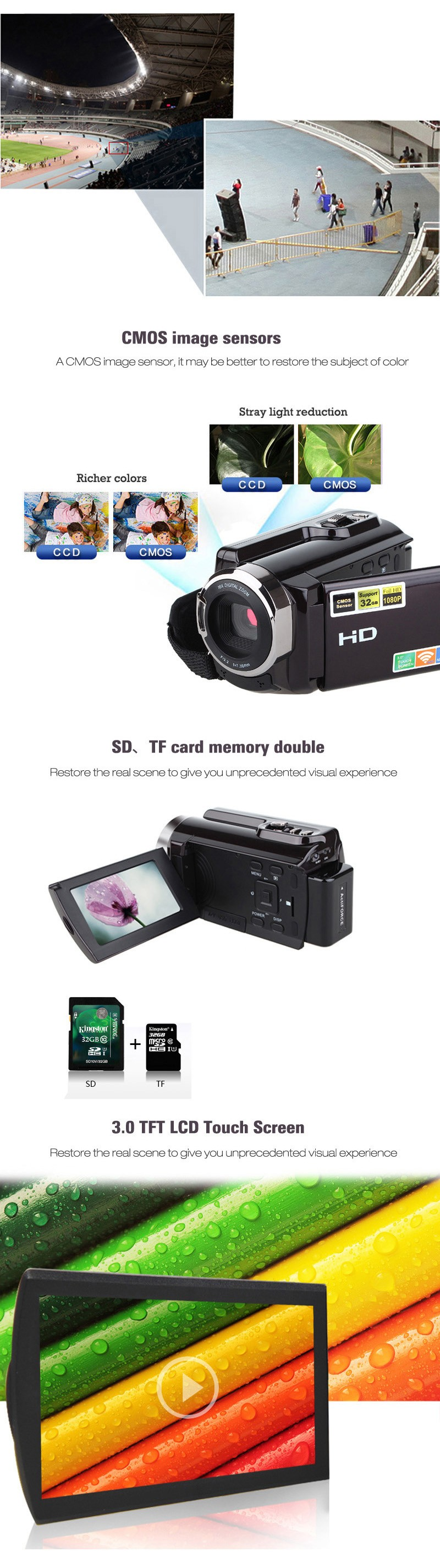 HDV-5053STR נייד מצלמת וידאו Full HD 1080p 16x זום דיגיטלי מצלמת וידאו דיגיטלית מקליט DVR עם Wifi מקס.20MP מסך מגע