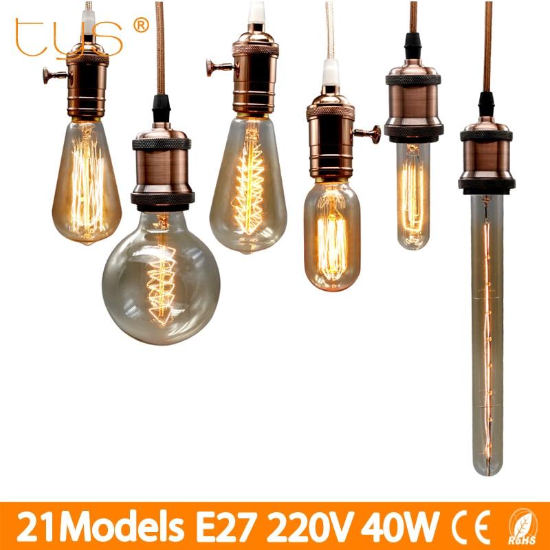 Edison Bulb E27 220V 40W ST64 G80 G95 Retro Lamp filament ampoule vintage Lamp Incandescent Light bulb Edison Lamp For decor