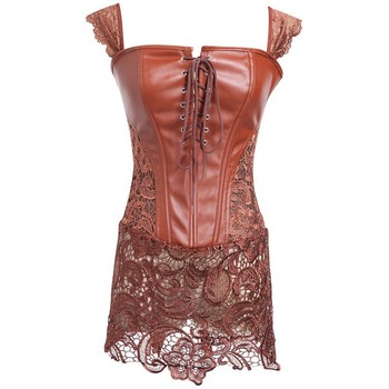 Gothic Bustier Top Corset Floral Asymmetric Hollow See-Through Embroidery 2 Colors