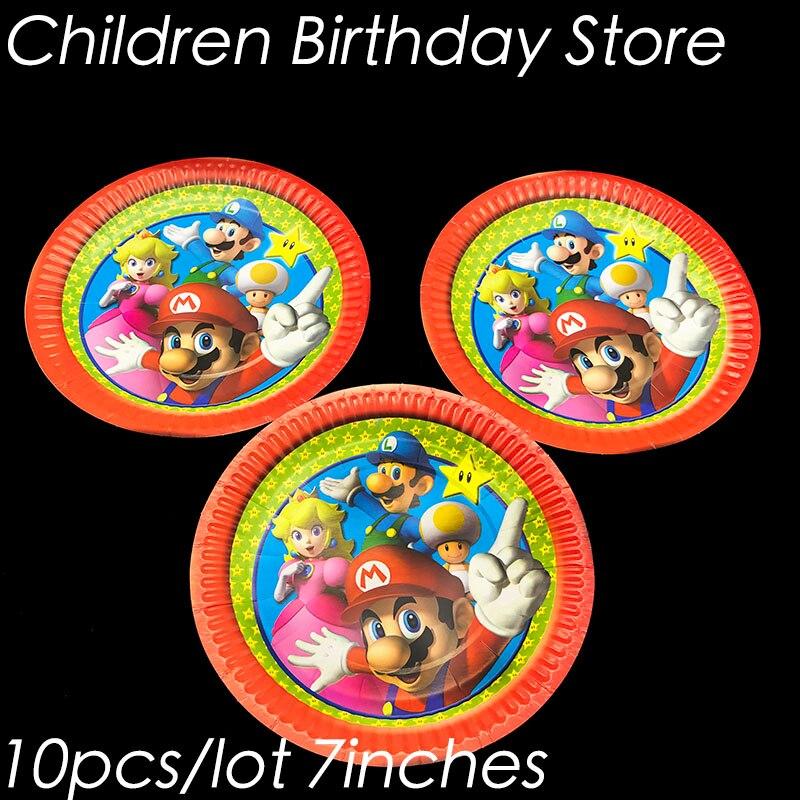 US $2 52 16% OFF 10pcs/lot Super Mario theme disposable plates Super Mario  Run theme birthday party decorations Super Mario Bros paper plates-in