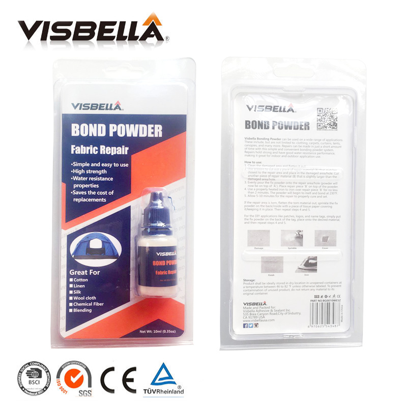 Visbella 2pcs Fabric Repair Bond Powder Pants Denim Bonding Repair Hand Tool Sets glue Waterproof sealers for clothing curtains