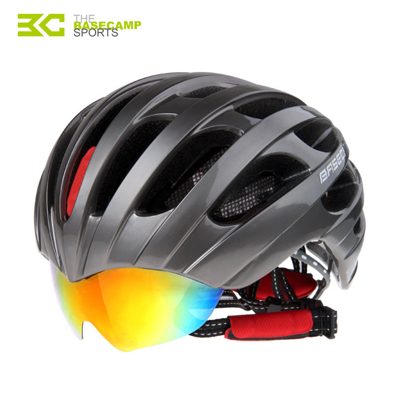 BASECAMP Bicycle Helmets With Cycling Glasses Ultralight Breathable Men Women Integrally Molded Bike Helmets Mirror 3 Lens H5105 new bicycle helmets sunglasses cycling glasses 3 lens integrally molded men women mountain road bike helmets 56 62cm