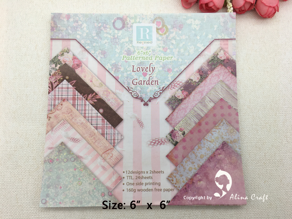 24 sheet 6 x6 lovely garden patterned paper scrapbooking paper pack handmade craft paper craft for Country garden 6 pack
