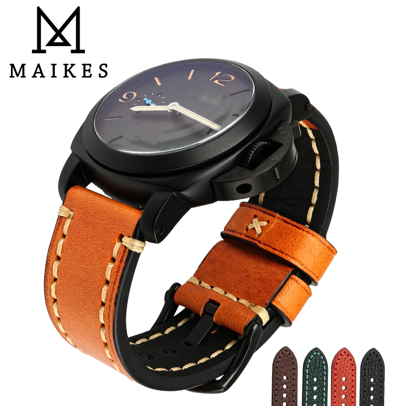 MAIKES Watch accessories Genuine cow leather watch band 20mm 22mm 24mm 26mm watchbands men watch strap for Panerai Bracelets new matte red gray blue leather watchband 22mm 24mm 26mm retro strap handmade men s watch straps for panerai