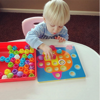 Puzzle Toy Gift Children Composite Picture Puzzle Creative Mosaic Mushroom Nail Kit Puzzle Educational Toys Button
