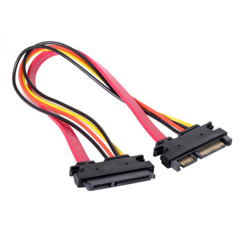 цена на Jimier  Red Color SATA III 3.0 7+15 22 Pin SATA Male to Female Data Power Extension Cable 30cm
