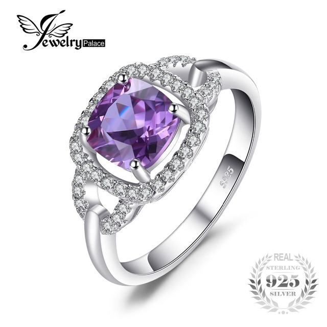JewelryPalace Fashion 2.5ct Square Created Alexandrite Sapphire 925  Sterling Silver Wedding Ring For Women Vintage