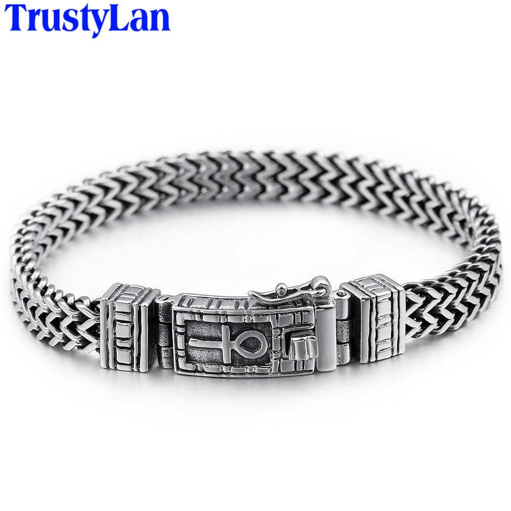 Hiphop Rock męskie bransoletki bransoletki ciężkie stałe amulet ze stali nierdzewnej bransoletka mężczyzn biżuteria podkreślająca osobowość prezenty dla męża przyjaciół