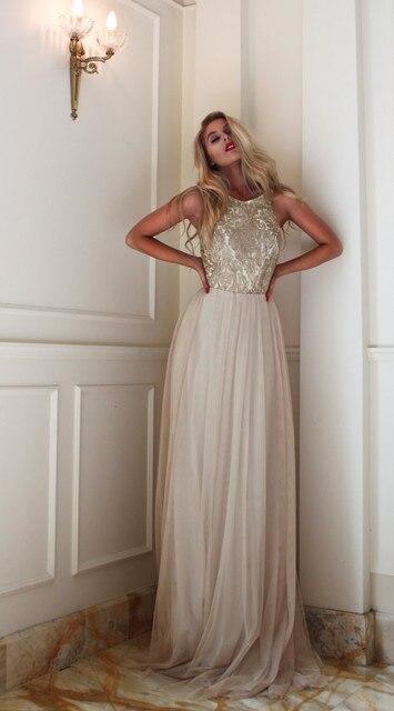 b889608475 Długa biała suknia wieczorowa zbiornika linii haft rękaw podłogi długość  sukienki wizytowe nowy przyjazd backless szyfonu