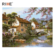 RIHE Village River Diy Painting By Numbers Abstract Bridge Oil On Canvas Cuadros Decoracion Acrylic Wall Picture Art