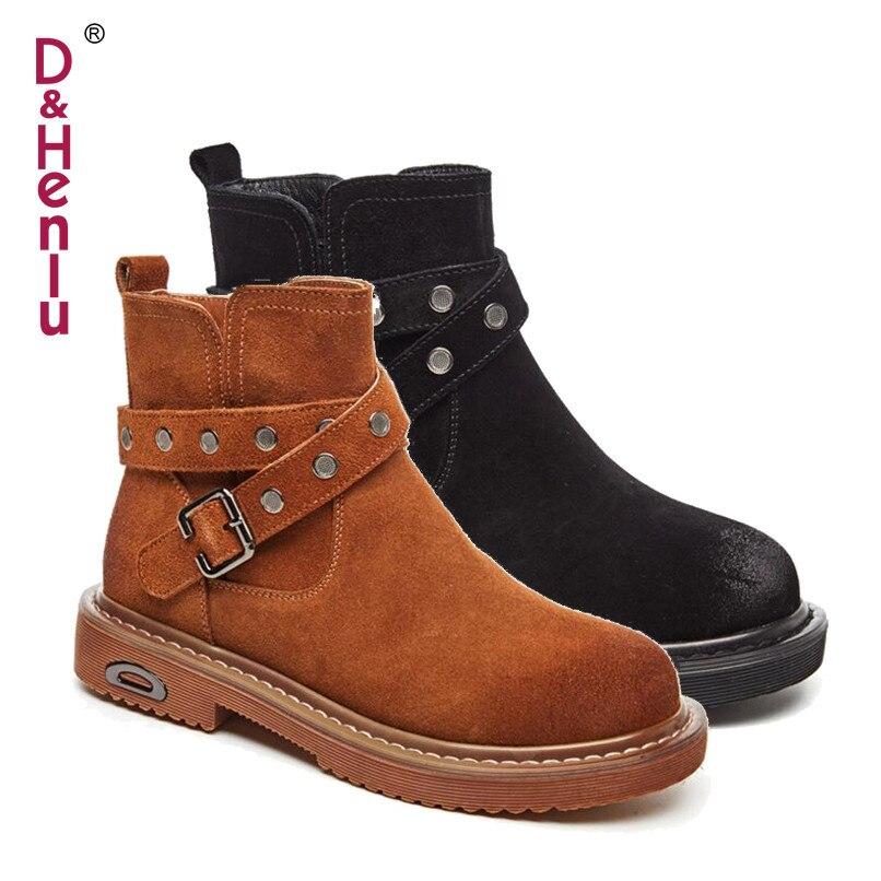 Talon Caramel Plat Pour Hiver Henlu} Cuir Véritable En Femmes Moto Chaussures Casual {damp; Automne Ceinture Boucle Black 2018 boots Brown Color Boots Bottes boots Cheville Botte De OkXZuPi