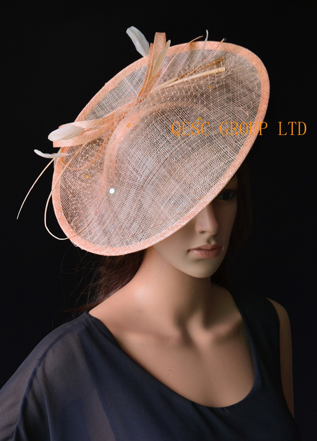 Wholesale NEW 17 colours Nude pink big Sinamay fascinator hat for kentucky  derby  9da3f70a0416