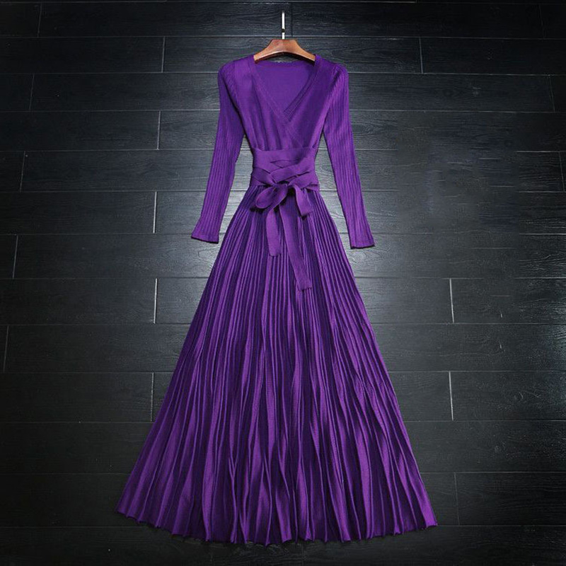 Purple Long Sexy Dress For Women Pleated Elegant Knit Dress With Sashes V-neck Long Sleeve Dresses Spring Autumn New Hot Fashion