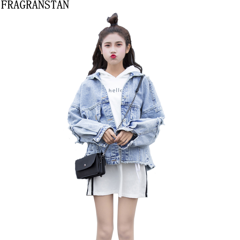 Women New Fashion Spring Autumn Solid Color Denim Jacket Female Frayed Hole Loose Outerwear Ladies Street