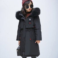 Children Girls Winter Down Jacket 2018 New Fur Hooded Thick Long Kids Girl clothes Coat Warm Parka Teenage Outwear 10 12 14 Year