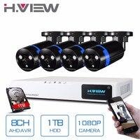 H. View 8CH 1080 P CCTV DVR системы s с 1 ТБ жесткий диск 4 шт. 2.0MP CCTV AHD камеры системы скрытого видеонаблюдения комплект Camaras