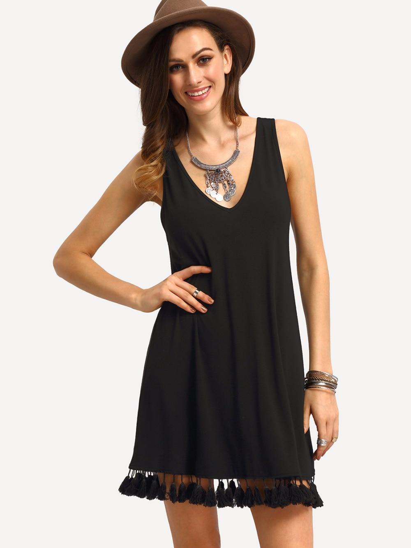 d9f50332883 Sexy dress in summer New European and American fashion fringed hem v-neck  sleeveless dresses Black mini dress plus size