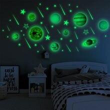 1 conjunto planetas luminosos adesivos de pvc diy 3d adesivos de parede para quartos dos miúdos quarto decoração da sua casa sala estar brilho no escuro decalques