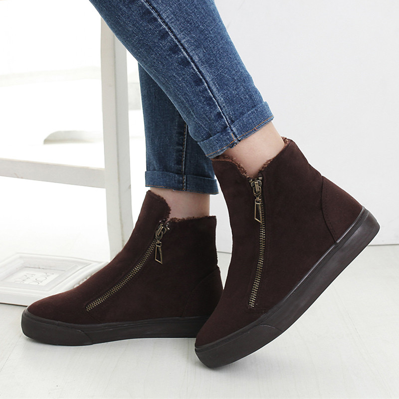 Image 2 - Fashion Winter Shoes Women Sneakers Boots Flock Warm Fur Snow Ankle Boots Women Double Zipper Antiskid Ladies Shoes Botas MujerAnkle Boots   -
