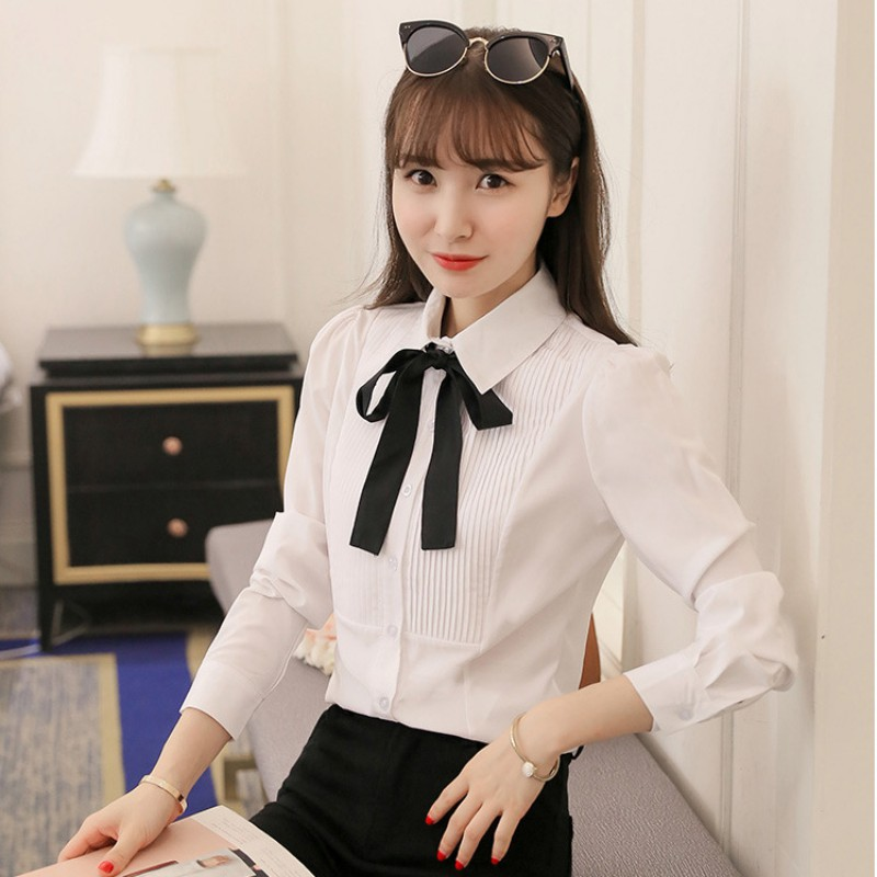 e003df710f49f Female Elegant Bow Tie White School Blouse Women Peter Pan Collar