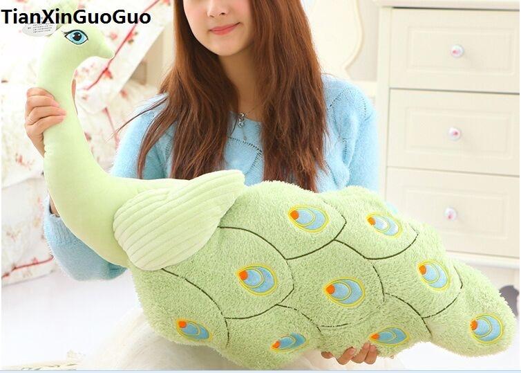 Grand 80 cm dessin animé paon en peluche jouet belle vert paon doux poupée étreinte oreiller créatif cadeau d'anniversaire s0870