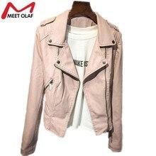 Women Leather Jacket and Coat  Fashion Slim Thin Biker Motorcycle Soft Faux Leather Long Sleeve Jackets Coat Overcoat Suit YL063